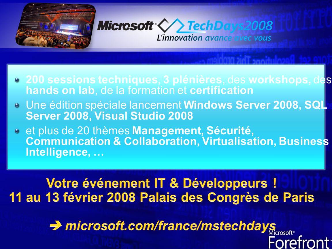200 sessions techniques, 3 plénières, des workshops, des hands on lab, de la formation et certification Une édition spéciale lancement Windows Server