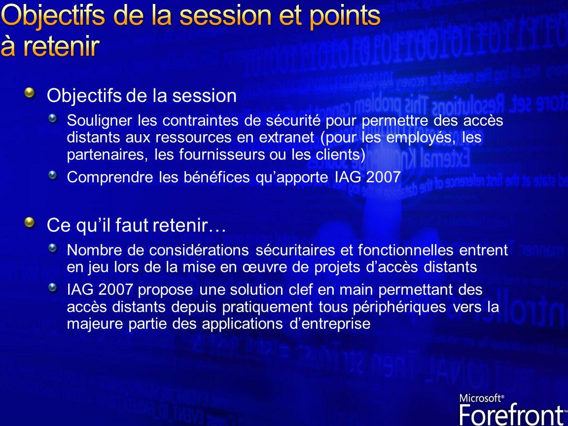 Objectifs de la session Souligner les contraintes de sécurité pour permettre des accès distants aux ressources en extranet (pour les employés, les par