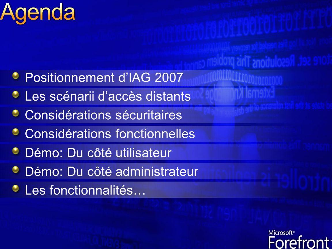 Positionnement dIAG 2007 Les scénarii daccès distants Considérations sécuritaires Considérations fonctionnelles Démo: Du côté utilisateur Démo: Du côt