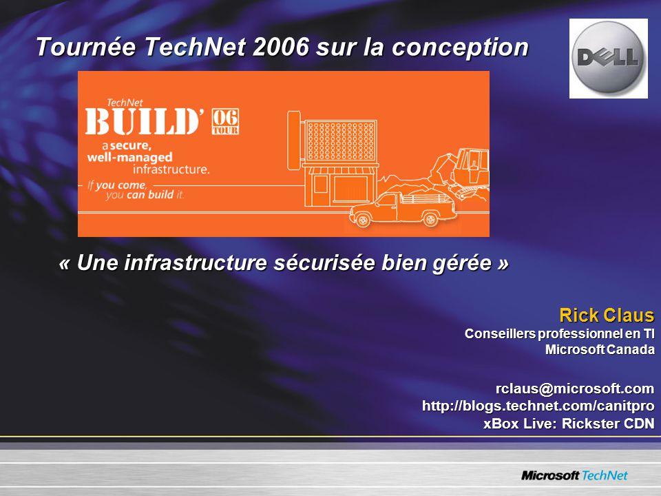 Tournée TechNet 2006 sur la conception « Une infrastructure sécurisée bien gérée » Rick Claus Conseillers professionnel en TI Microsoft Canada rclaus@microsoft.comhttp://blogs.technet.com/canitpro xBox Live: Rickster CDN