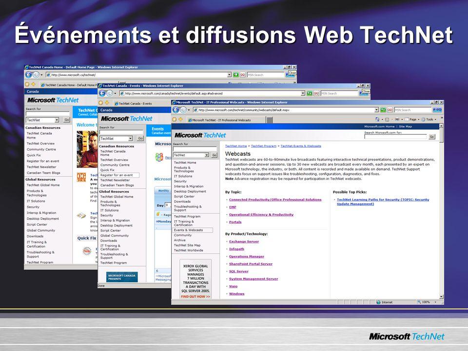 Événements et diffusions Web TechNet