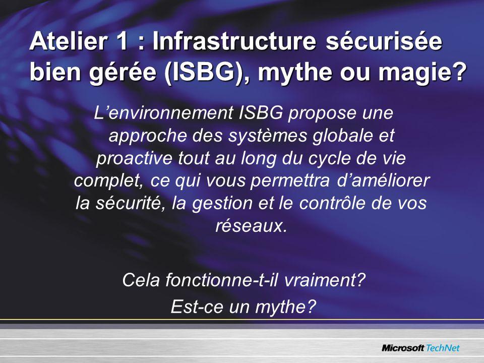 Atelier 1 : Infrastructure sécurisée bien gérée (ISBG), mythe ou magie.