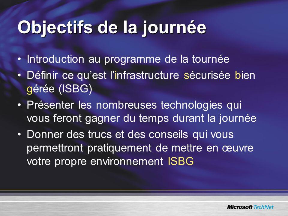 Objectifs de la journée Introduction au programme de la tournée Définir ce quest linfrastructure sécurisée bien gérée (ISBG) Présenter les nombreuses technologies qui vous feront gagner du temps durant la journée Donner des trucs et des conseils qui vous permettront pratiquement de mettre en œuvre votre propre environnement ISBG