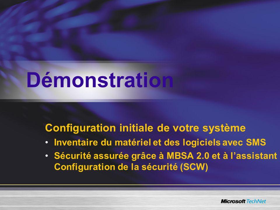 Configuration initiale de votre système Inventaire du matériel et des logiciels avec SMS Sécurité assurée grâce à MBSA 2.0 et à lassistant Configuration de la sécurité (SCW) Démonstration