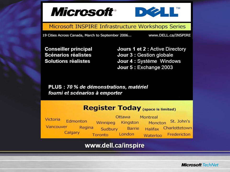 Jours 1 et 2 : Active Directory Jour 3 : Gestion globale Jour 4 : Système Windows Jour 5 : Exchange 2003 www.dell.ca/inspire PLUS : 70 % de démonstrations, matériel fourni et scénarios à emporter Conseiller principal Scénarios réalistes Solutions réalistes