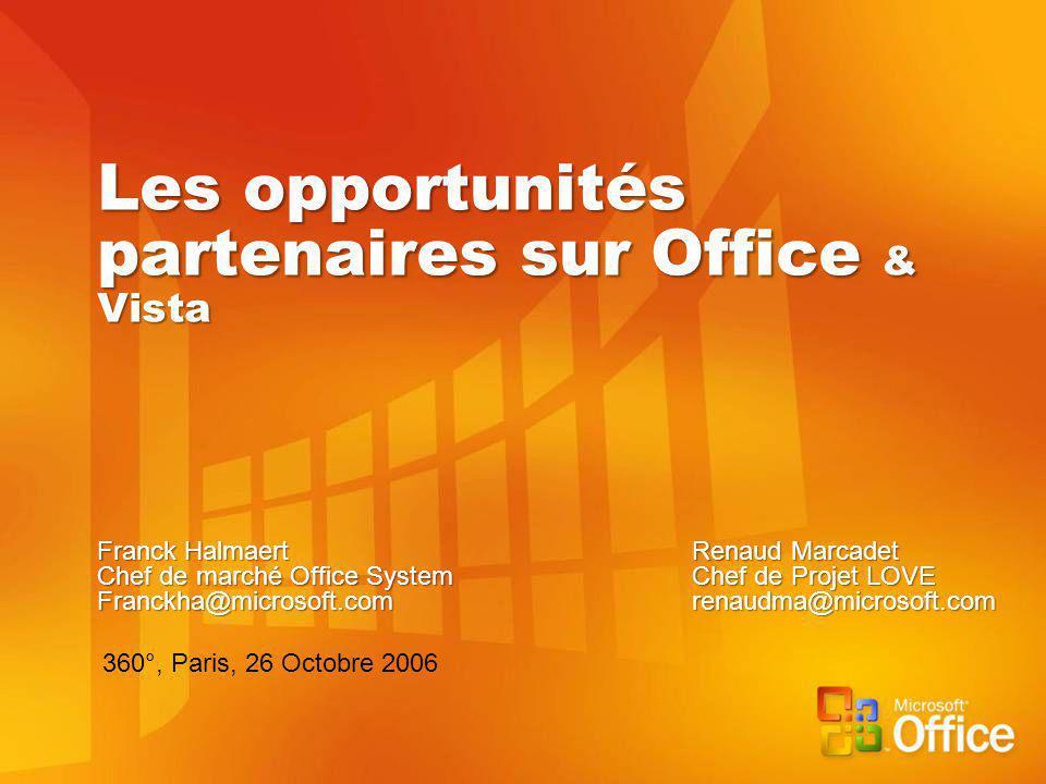 Les opportunités partenaires sur Office & Vista Franck HalmaertRenaud Marcadet Chef de marché Office SystemChef de Projet LOVE Franckha@microsoft.comrenaudma@microsoft.com 360°, Paris, 26 Octobre 2006