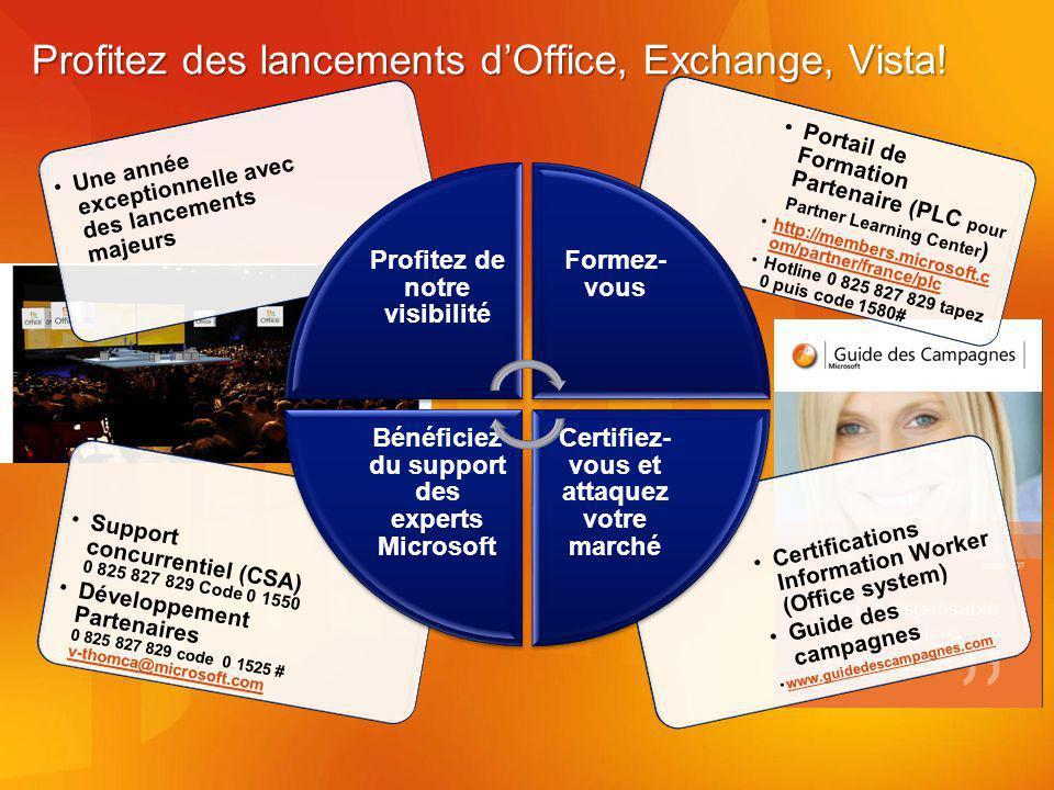 Profitez des lancements dOffice, Exchange, Vista.