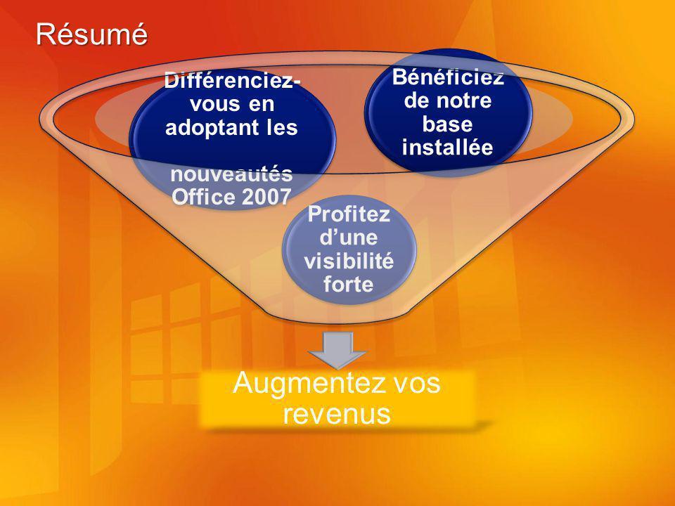 Résumé Augmentez vos revenus Profitez dune visibilité forte Différenciez- vous en adoptant les nouveautés Office 2007 Bénéficiez de notre base installée
