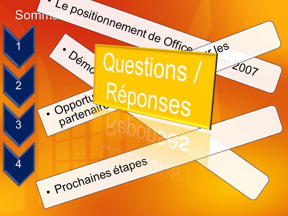 Sommaire 1 Le positionnement de Office system 2007 2 Opportunités de croissance pour les partenaires 3 Démonstration 4 Prochaines étapes