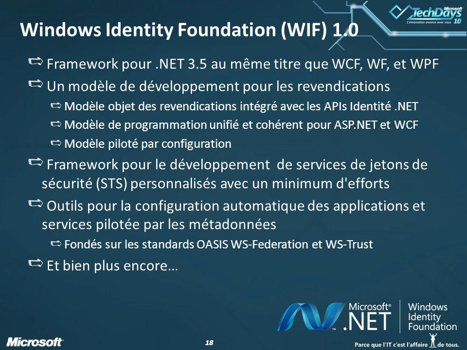 18 Windows Identity Foundation (WIF) 1.0 Framework pour.NET 3.5 au même titre que WCF, WF, et WPF Un modèle de développement pour les revendications M