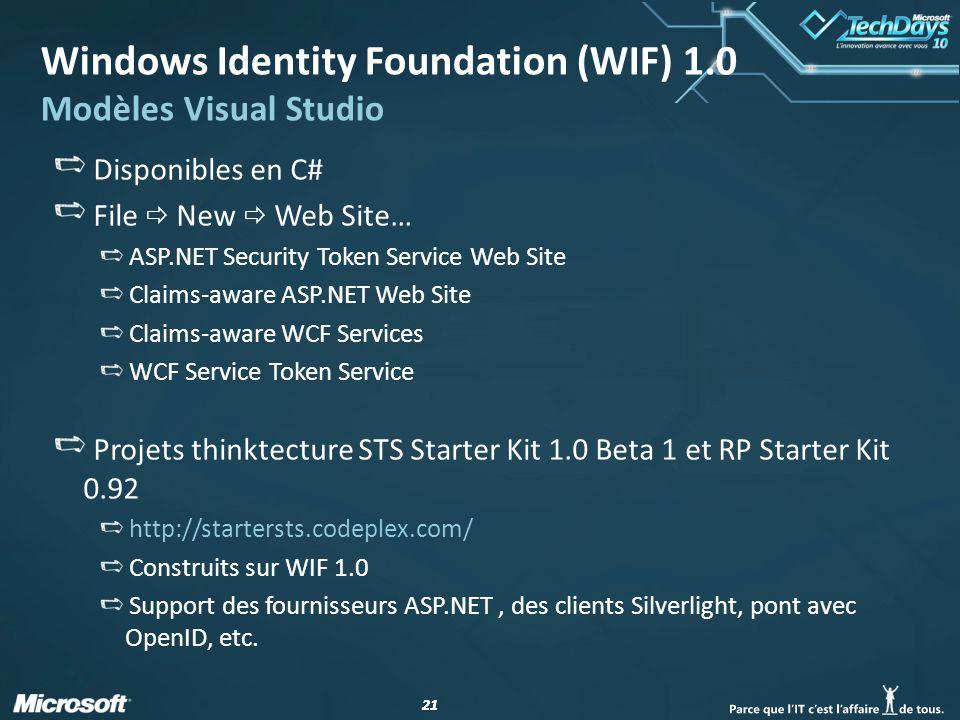 21 Windows Identity Foundation (WIF) 1.0 Modèles Visual Studio Disponibles en C# File New Web Site… ASP.NET Security Token Service Web Site Claims-awa