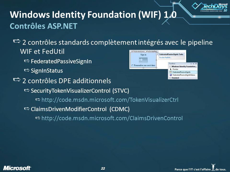 22 Windows Identity Foundation (WIF) 1.0 Contrôles ASP.NET 2 contrôles standards complètement intégrés avec le pipeline WIF et FedUtil FederatedPassiv
