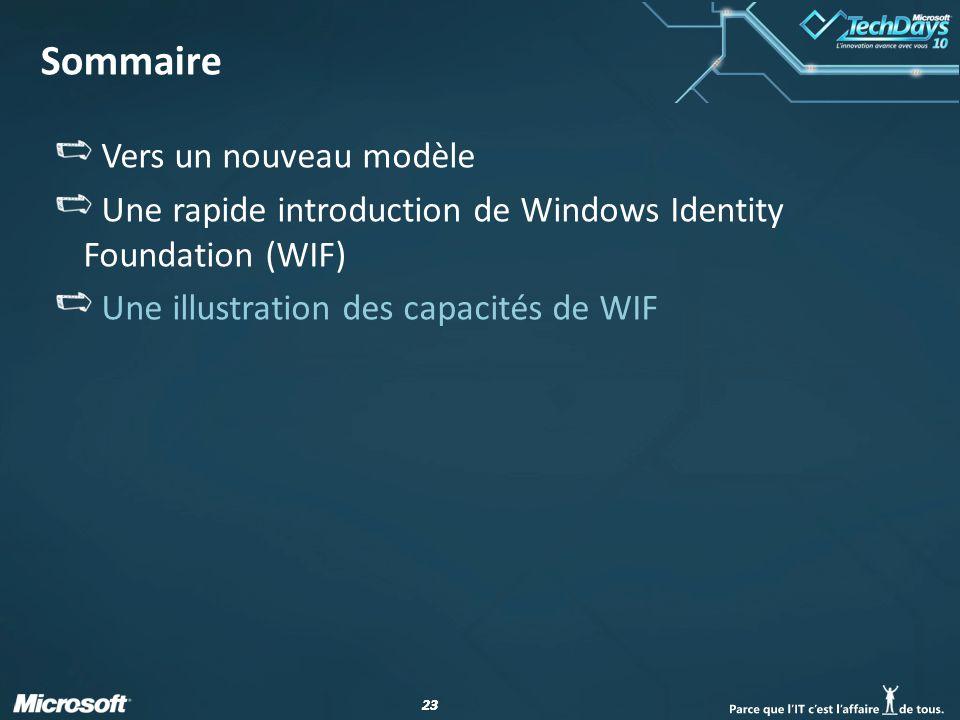 23 Sommaire Vers un nouveau modèle Une rapide introduction de Windows Identity Foundation (WIF) Une illustration des capacités de WIF