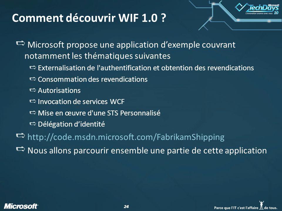 24 Comment découvrir WIF 1.0 ? Microsoft propose une application dexemple couvrant notamment les thématiques suivantes Externalisation de l'authentifi
