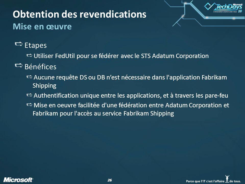 26 Obtention des revendications Mise en œuvre Etapes Utiliser FedUtil pour se fédérer avec le STS Adatum Corporation Bénéfices Aucune requête DS ou DB