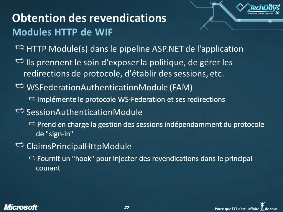 27 Obtention des revendications Modules HTTP de WIF HTTP Module(s) dans le pipeline ASP.NET de l'application Ils prennent le soin d'exposer la politiq