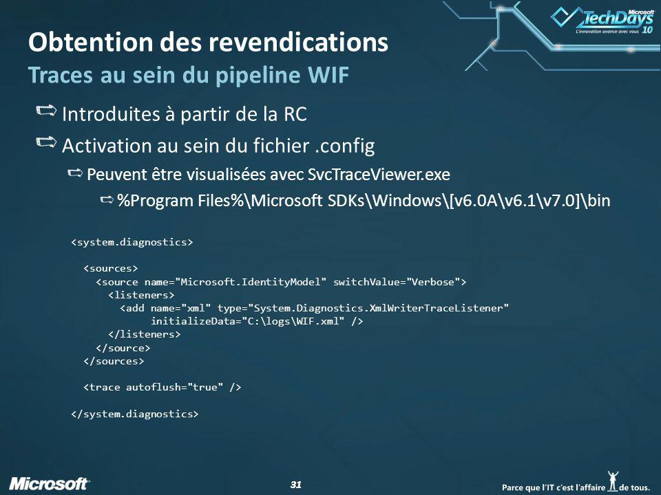 31 Obtention des revendications Traces au sein du pipeline WIF Introduites à partir de la RC Activation au sein du fichier.config Peuvent être visuali