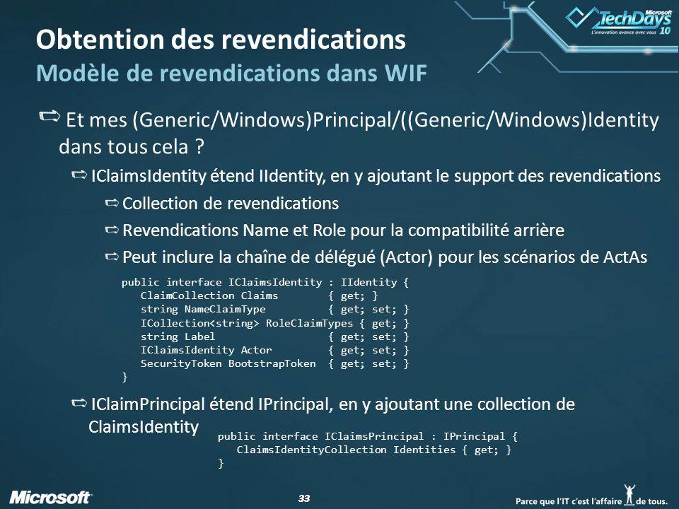 33 Obtention des revendications Modèle de revendications dans WIF Et mes (Generic/Windows)Principal/((Generic/Windows)Identity dans tous cela ? IClaim
