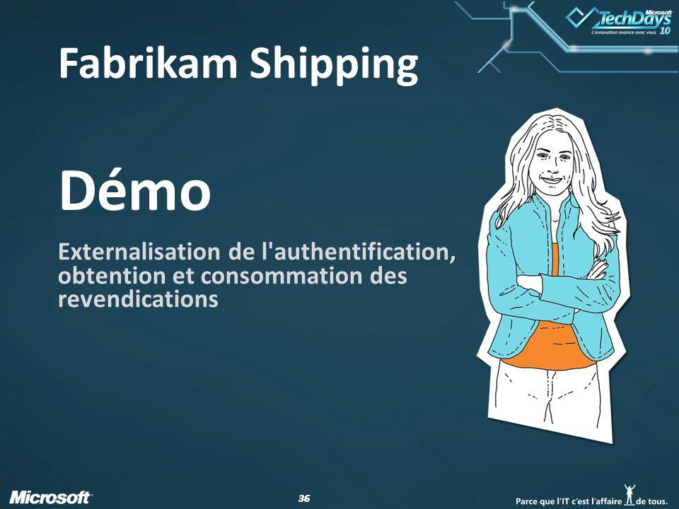 36 Démo Externalisation de l'authentification, obtention et consommation des revendications Fabrikam Shipping