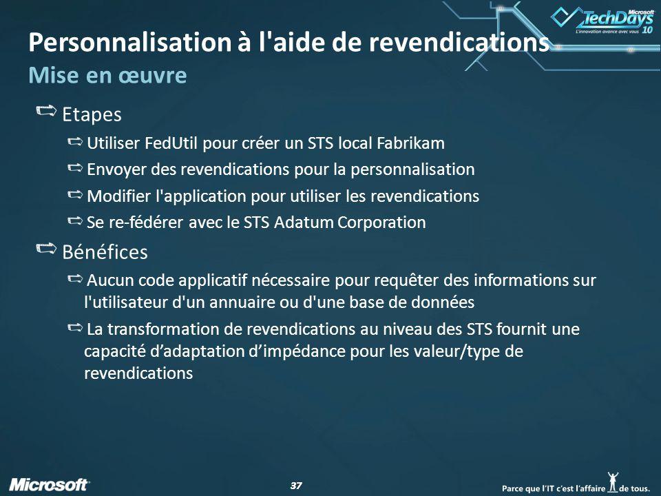 37 Personnalisation à l'aide de revendications Mise en œuvre Etapes Utiliser FedUtil pour créer un STS local Fabrikam Envoyer des revendications pour