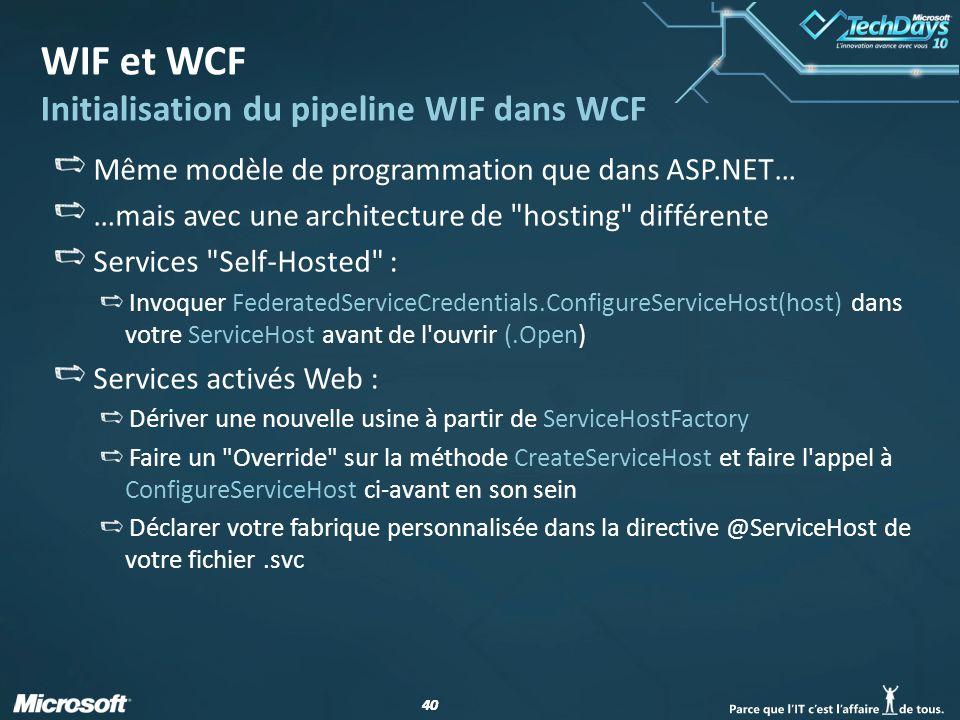 40 WIF et WCF Initialisation du pipeline WIF dans WCF Même modèle de programmation que dans ASP.NET… …mais avec une architecture de