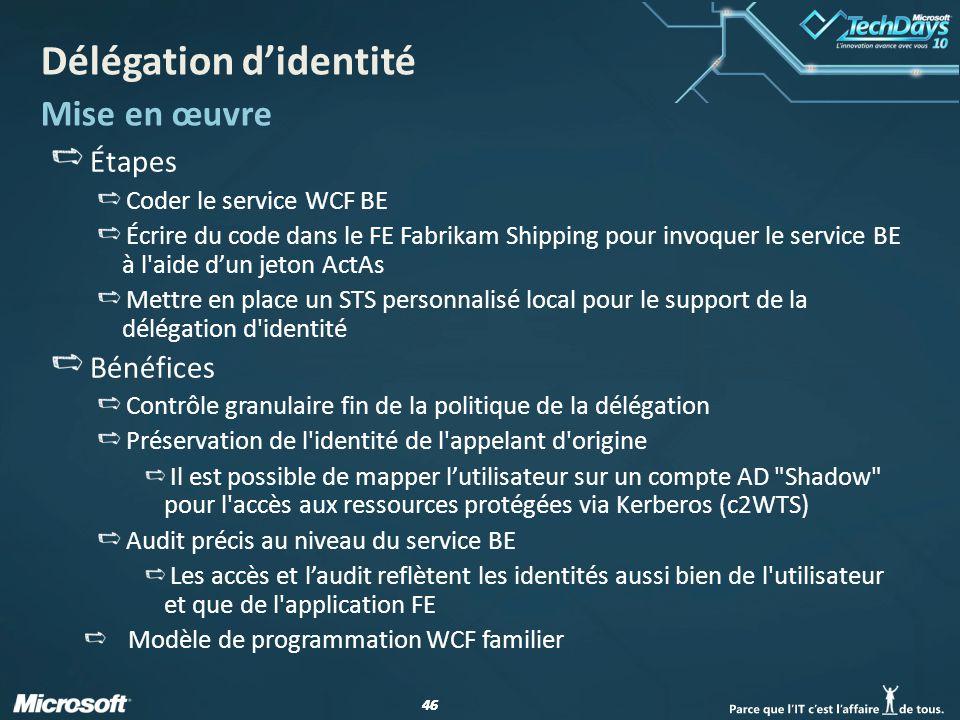 46 Délégation didentité Mise en œuvre Étapes Coder le service WCF BE Écrire du code dans le FE Fabrikam Shipping pour invoquer le service BE à l'aide