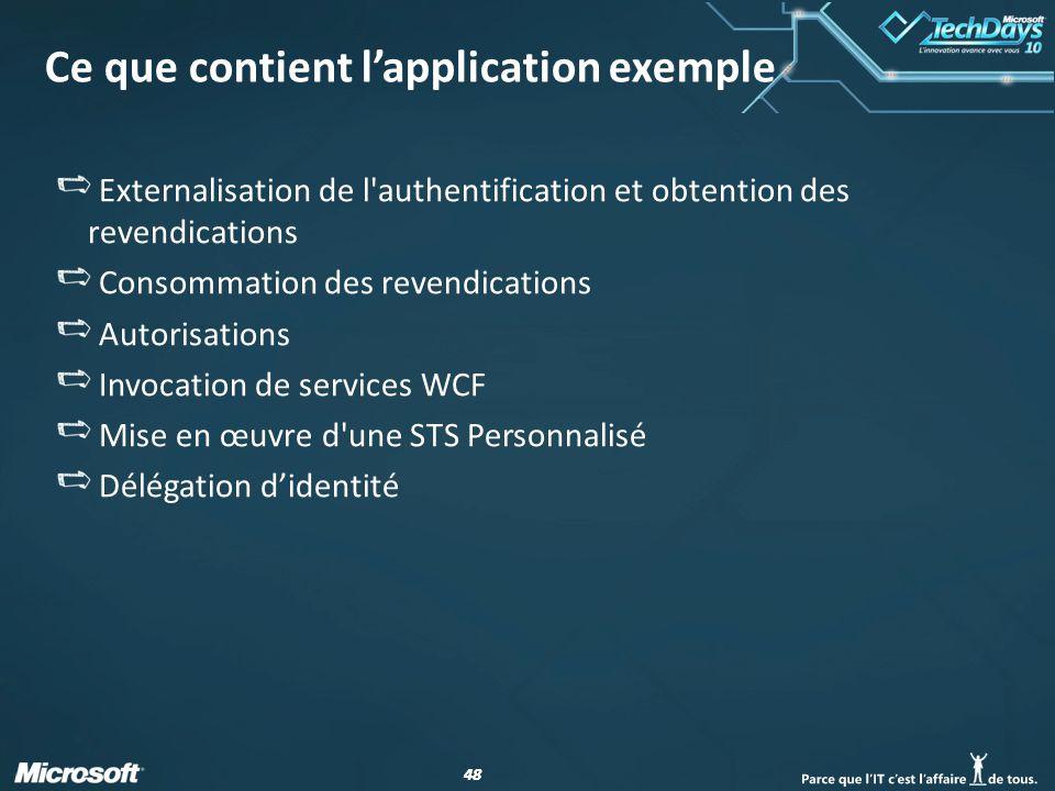 48 Ce que contient lapplication exemple Externalisation de l'authentification et obtention des revendications Consommation des revendications Autorisa