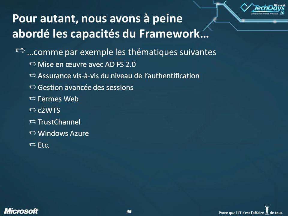 49 Pour autant, nous avons à peine abordé les capacités du Framework… …comme par exemple les thématiques suivantes Mise en œuvre avec AD FS 2.0 Assura