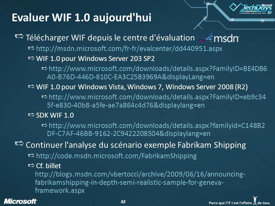 52 Evaluer WIF 1.0 aujourd'hui Télécharger WIF depuis le centre d'évaluation http://msdn.microsoft.com/fr-fr/evalcenter/dd440951.aspx WIF 1.0 pour Win