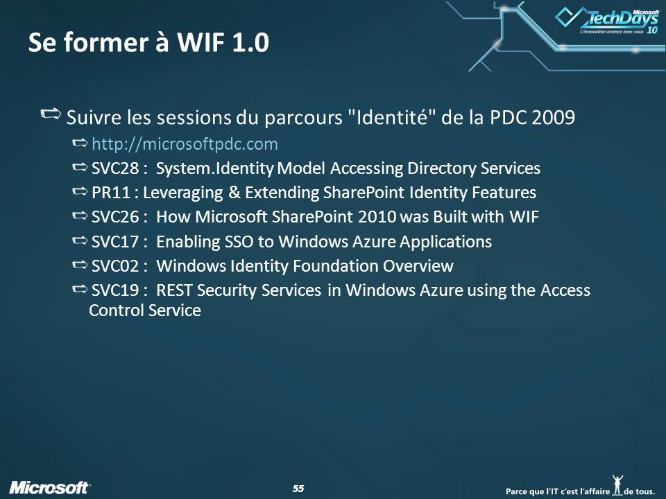 55 Se former à WIF 1.0 Suivre les sessions du parcours Identité de la PDC 2009 http://microsoftpdc.com SVC28 : System.Identity Model Accessing Directory Services PR11 : Leveraging & Extending SharePoint Identity Features SVC26 : How Microsoft SharePoint 2010 was Built with WIF SVC17 : Enabling SSO to Windows Azure Applications SVC02 : Windows Identity Foundation Overview SVC19 : REST Security Services in Windows Azure using the Access Control Service