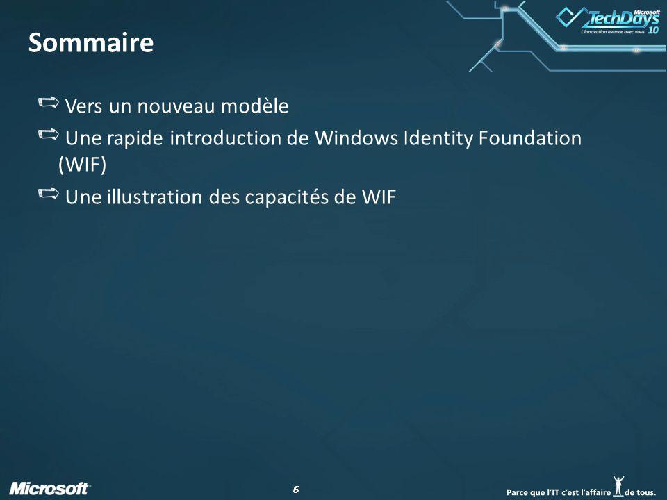 17 Sommaire Vers un nouveau modèle Une rapide introduction de Windows Identity Foundation (WIF) Une illustration des capacités de WIF