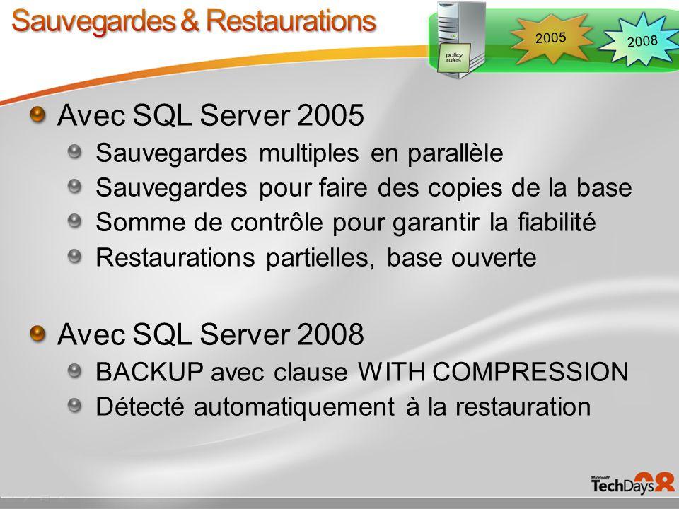 Avec SQL Server 2005 plan guides USE PLAN hint Avec SQL Server 2008 améliorations des plan guides Création simplifiée Gestion dans SSMS Possibilité dinterdire les changements de plans Possibilité de figer un plan pour les ISV 2008 2005