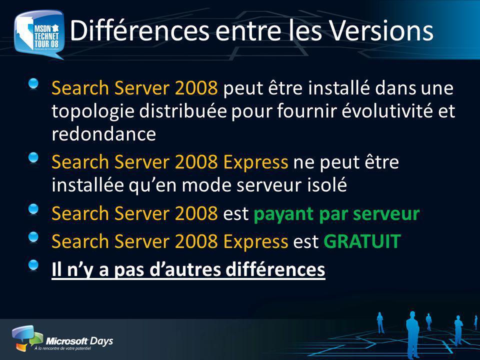 Search Server 2008 Version mise à jour et renommée de SharePoint Server 2007 for Search Principaux investissements et nouvelles fonctionnalités Expéri