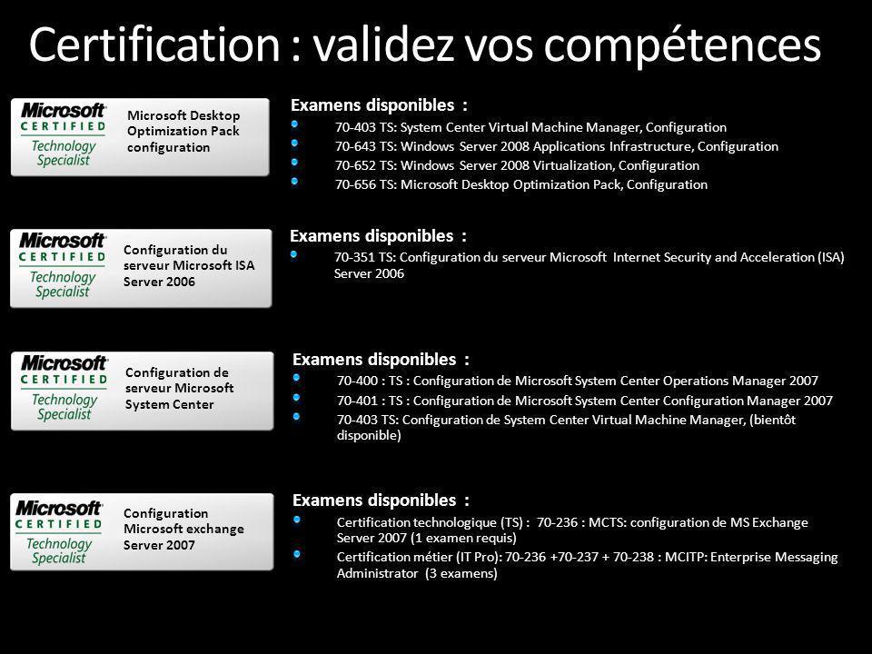 Certification : validez vos compétences Offre de certification Seconde chance : Bénéficiez dun second passage gratuit pour tout 1 er passage non réussi www.microsoft.com/france/formation www.microsoft.com/france/formation Guides de préparations aux examens : http://www.microsoft.com/france/formatio n/examens Echangez et discutez sur les certifications sur le Forum : http://forums.microsoft.com/france/default.aspx Contactez nous pour dautres questions : formcert@microsoft.com