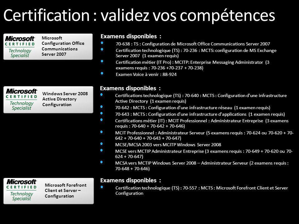 Certification : validez vos compétences Examens disponibles : 70-403 TS: System Center Virtual Machine Manager, Configuration 70-643 TS: Windows Server 2008 Applications Infrastructure, Configuration 70-652 TS: Windows Server 2008 Virtualization, Configuration 70-656 TS: Microsoft Desktop Optimization Pack, Configuration Microsoft Desktop Optimization Pack configuration Examens disponibles : 70-351 TS: Configuration du serveur Microsoft Internet Security and Acceleration (ISA) Server 2006 Configuration du serveur Microsoft ISA Server 2006 Examens disponibles : 70-400 : TS : Configuration de Microsoft System Center Operations Manager 2007 70-401 : TS : Configuration de Microsoft System Center Configuration Manager 2007 70-403 TS: Configuration de System Center Virtual Machine Manager, (bientôt disponible) Configuration de serveur Microsoft System Center Configuration Microsoft exchange Server 2007 Examens disponibles : Certification technologique (TS) : 70-236 : MCTS: configuration de MS Exchange Server 2007 (1 examen requis) Certification métier (IT Pro): 70-236 +70-237 + 70-238 : MCITP: Enterprise Messaging Administrator (3 examens)