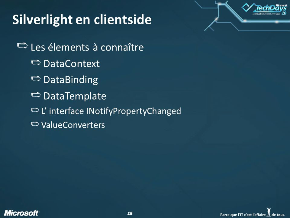 19 Silverlight en clientside Les élements à connaître DataContext DataBinding DataTemplate L interface INotifyPropertyChanged ValueConverters