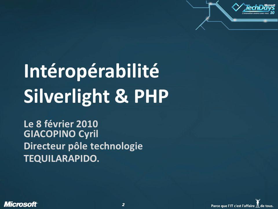 22 Intéropérabilité Silverlight & PHP Le 8 février 2010 GIACOPINO Cyril Directeur pôle technologie TEQUILARAPIDO.