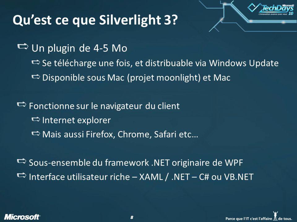 88 Quest ce que Silverlight 3? Un plugin de 4-5 Mo Se télécharge une fois, et distribuable via Windows Update Disponible sous Mac (projet moonlight) e