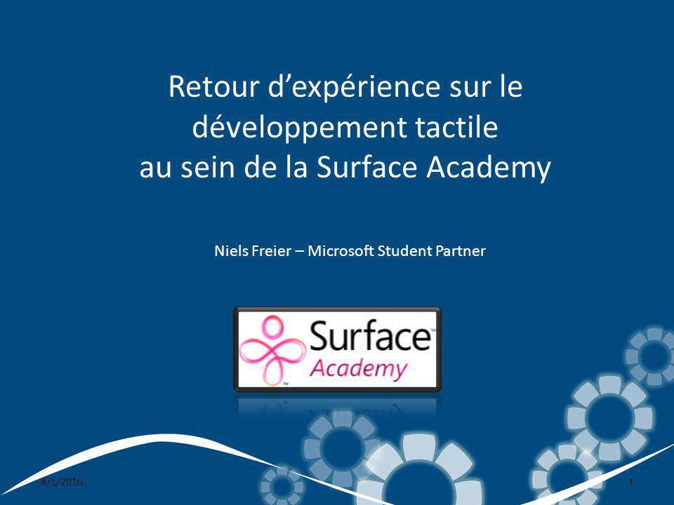 8/1/20101 Retour dexpérience sur le développement tactile au sein de la Surface Academy Niels Freier – Microsoft Student Partner
