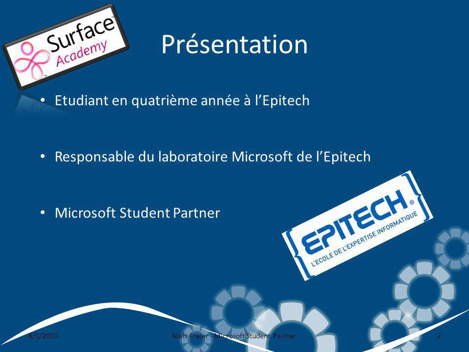 Présentation 8/1/2010Niels Freier - Microsoft Student Partner2 Etudiant en quatrième année à lEpitech Responsable du laboratoire Microsoft de lEpitech Microsoft Student Partner