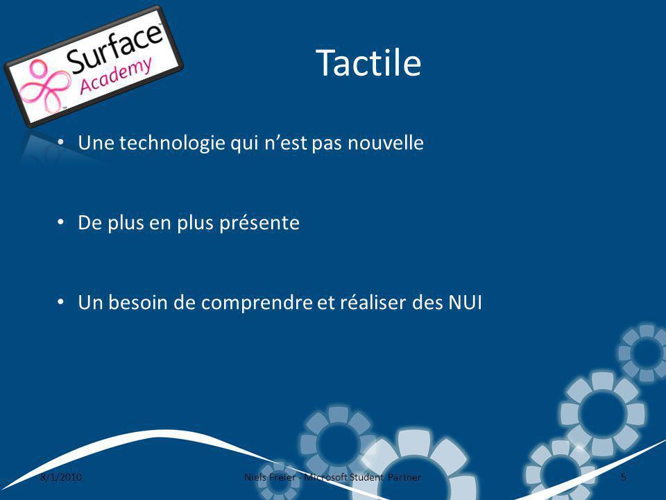 Tactile 8/1/2010Niels Freier - Microsoft Student Partner5 Une technologie qui nest pas nouvelle De plus en plus présente Un besoin de comprendre et réaliser des NUI
