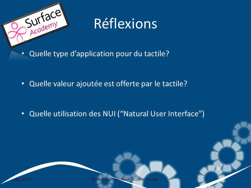 Réflexions 8/1/2010Niels Freier - Microsoft Student Partner7 Quelle type dapplication pour du tactile? Quelle valeur ajoutée est offerte par le tactil