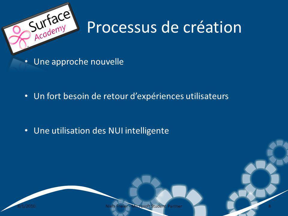 Processus de création 8/1/2010Niels Freier - Microsoft Student Partner8 Une approche nouvelle Un fort besoin de retour dexpériences utilisateurs Une utilisation des NUI intelligente