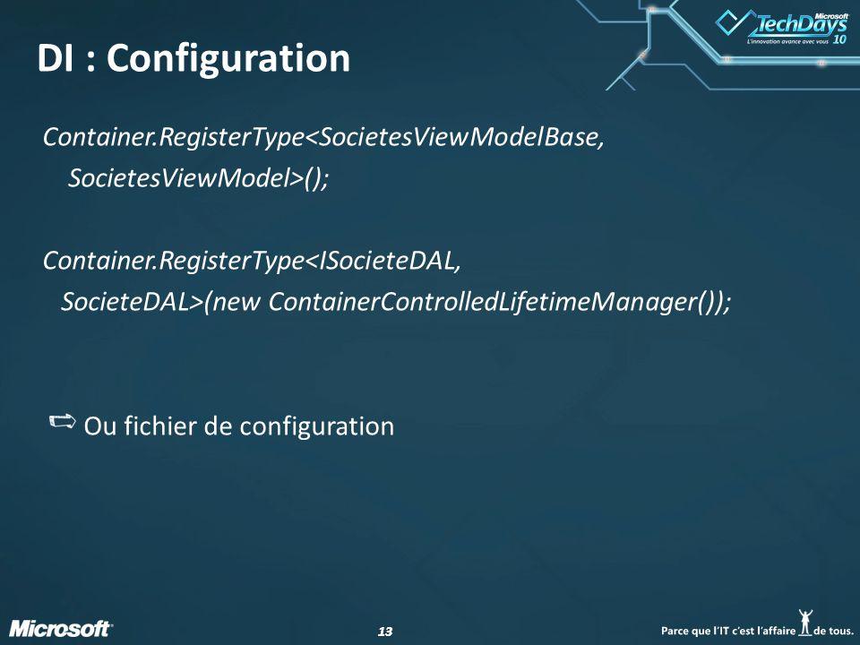 13 DI : Configuration Container.RegisterType<SocietesViewModelBase, SocietesViewModel>(); Container.RegisterType<ISocieteDAL, SocieteDAL>(new Containe