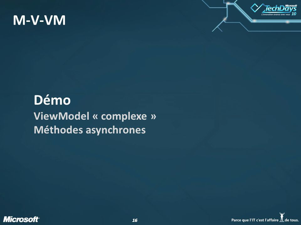16 M-V-VM Démo ViewModel « complexe » Méthodes asynchrones