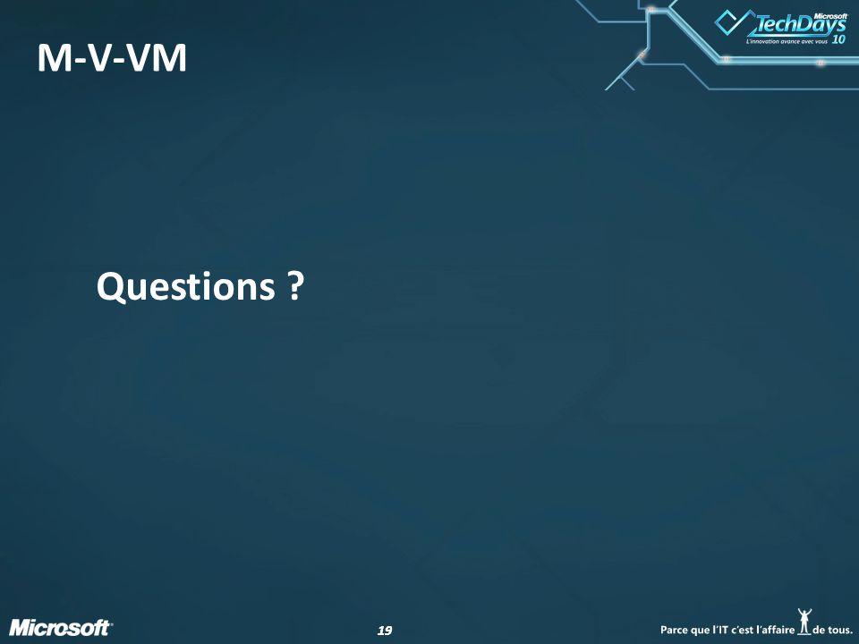 19 M-V-VM Questions ?