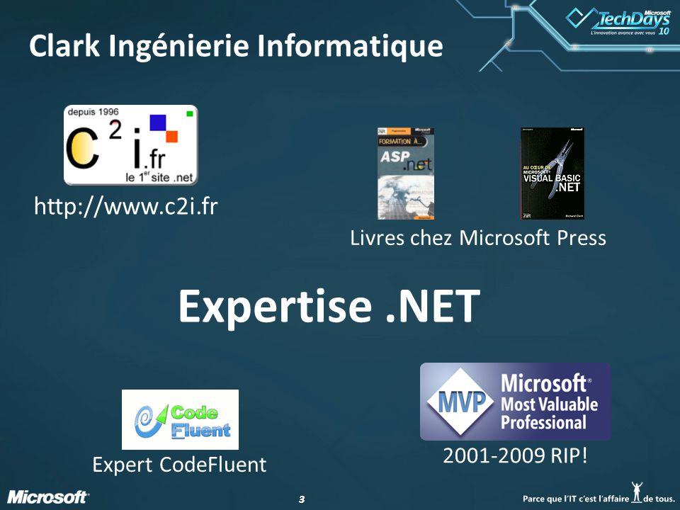 33 Clark Ingénierie Informatique http://www.c2i.fr Livres chez Microsoft Press Expert CodeFluent 2001-2009 RIP! Expertise.NET