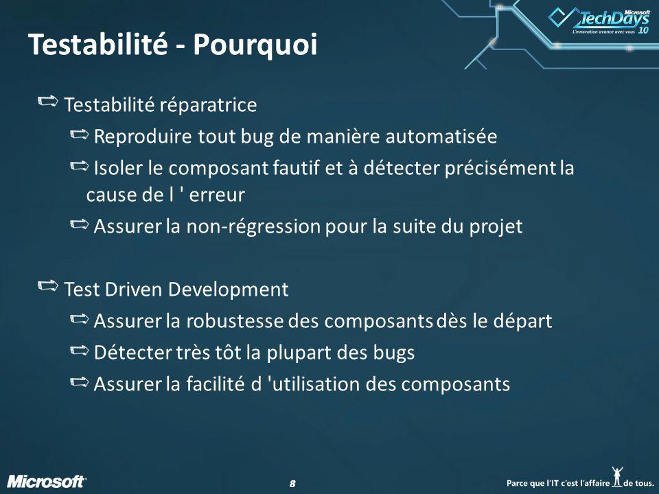 88 Testabilité - Pourquoi Testabilité réparatrice Reproduire tout bug de manière automatisée Isoler le composant fautif et à détecter précisément la c