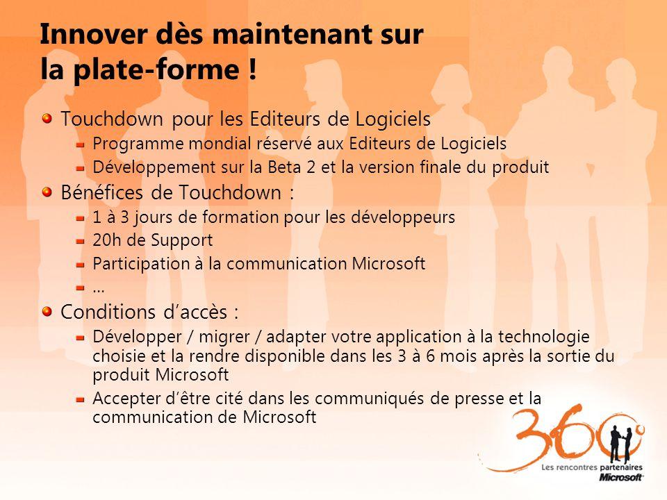 Innover dès maintenant sur la plate-forme ! Touchdown pour les Editeurs de Logiciels Programme mondial réservé aux Editeurs de Logiciels Développement