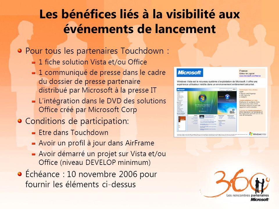 Les bénéfices liés à la visibilité aux événements de lancement Pour tous les partenaires Touchdown : 1 fiche solution Vista et/ou Office 1 communiqué